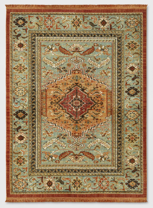 Size 5'X7 Color Green/Red Floral Woven Accent Rug - Threshold™