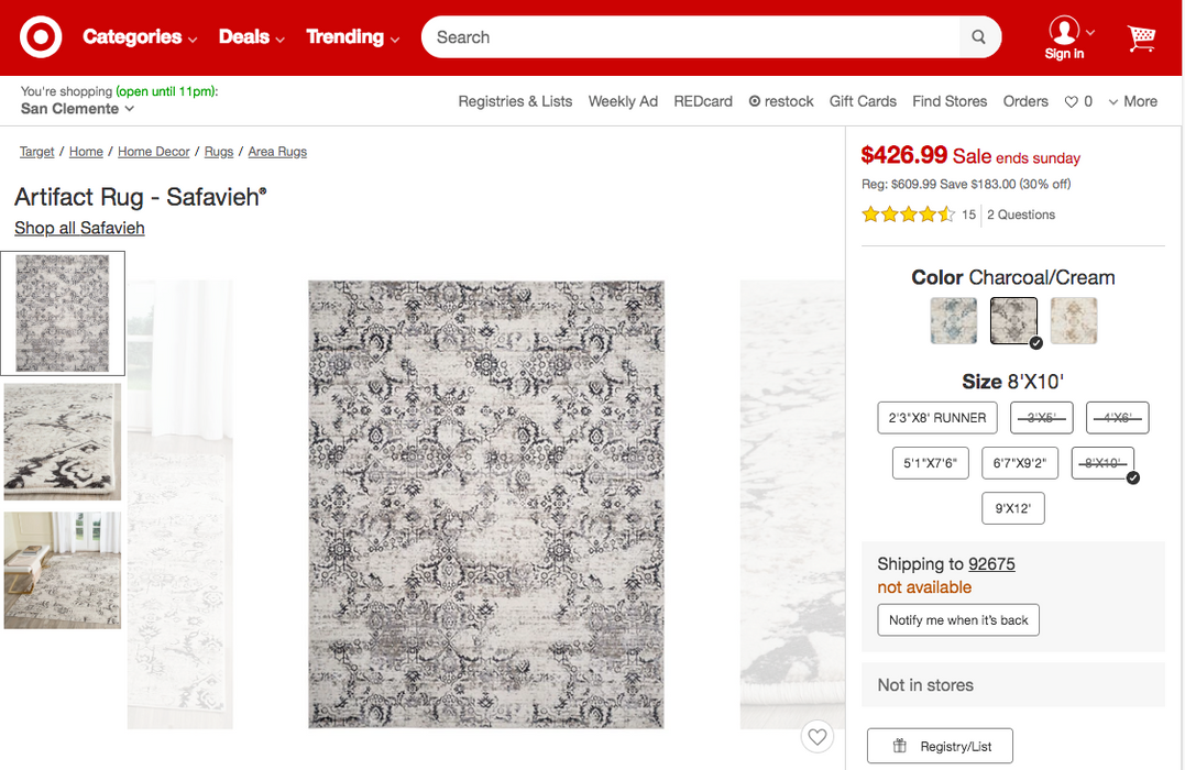 8'X10' Safavieh Color Charcoal/Cream Artifact Rug - Our Price $295 (Currently Selling Online for $609) - YOU SAVE $315!