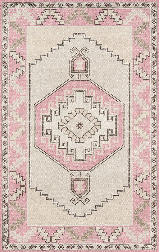 5x8 Color: Pink Momeni Anatolia Wool and Nylon Area Rug