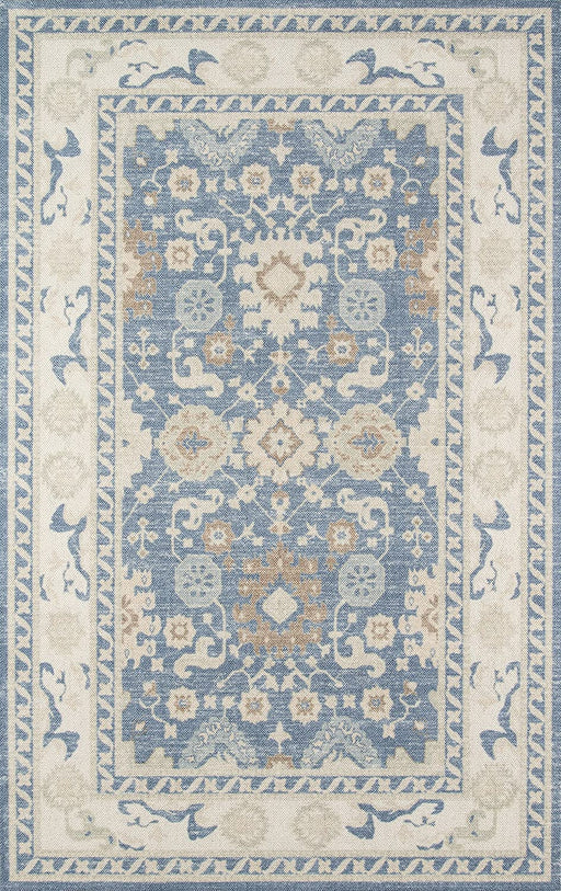 5x8 Light Blue Momeni Anatolia Wool and Nylon Area Rug