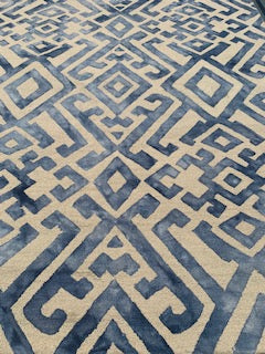 8x10 Blue & Cream Colored Area Rug