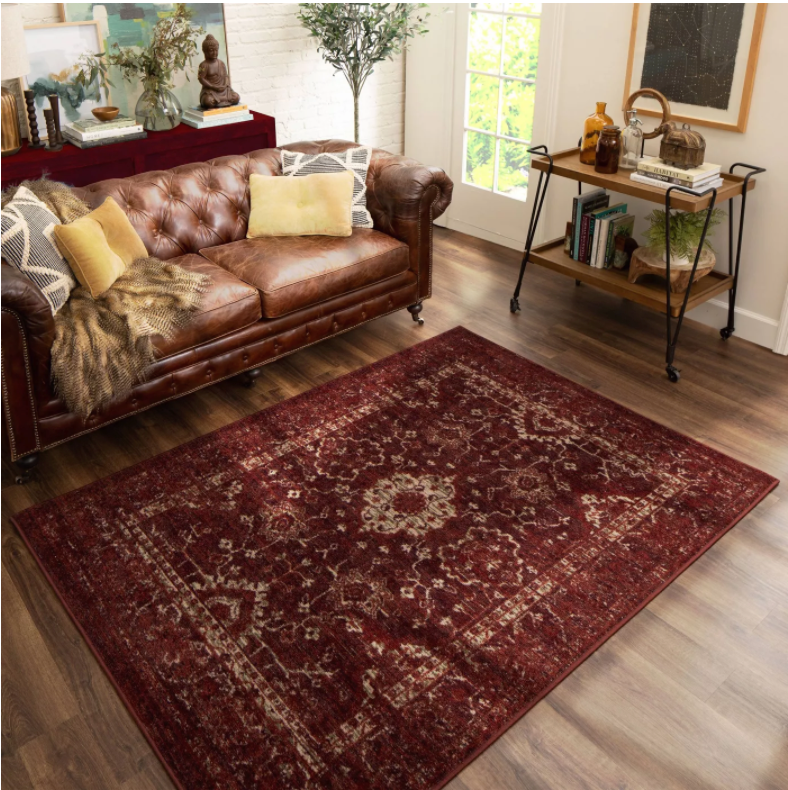 Size 5'x7 Color Red Vintage Distressed Rug - Threshold™