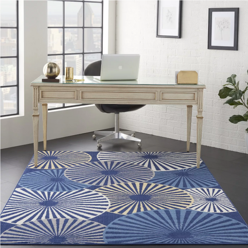 "Size 5'3"" x 7'3"" Nourison Grafix Navy Indoor Area Rug"