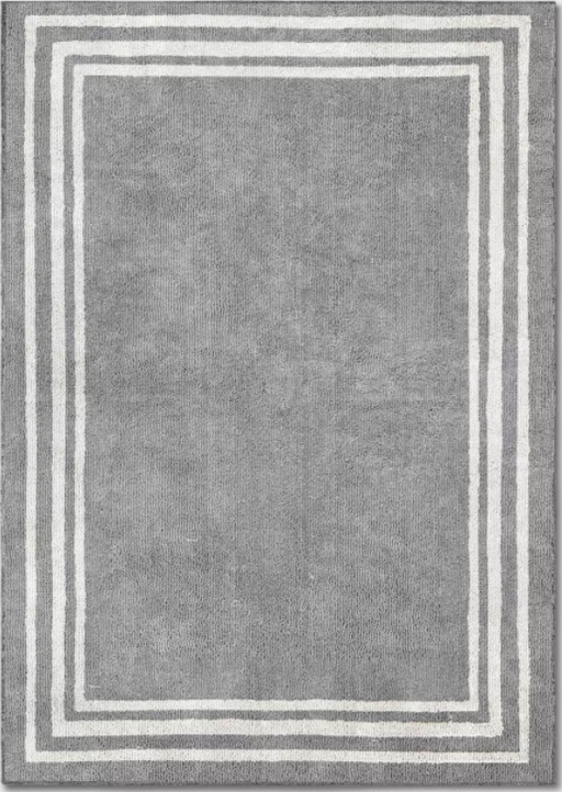 Size 5'X7' Color Gray/Ivory Tetra Border Rug - Threshold™