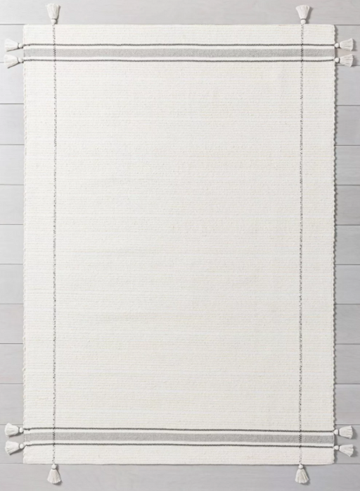 Size 7' x 10' Simple Border Stripe with Corner Tassel Rug White/Gray - Hearth & Hand™ with Magnolia
