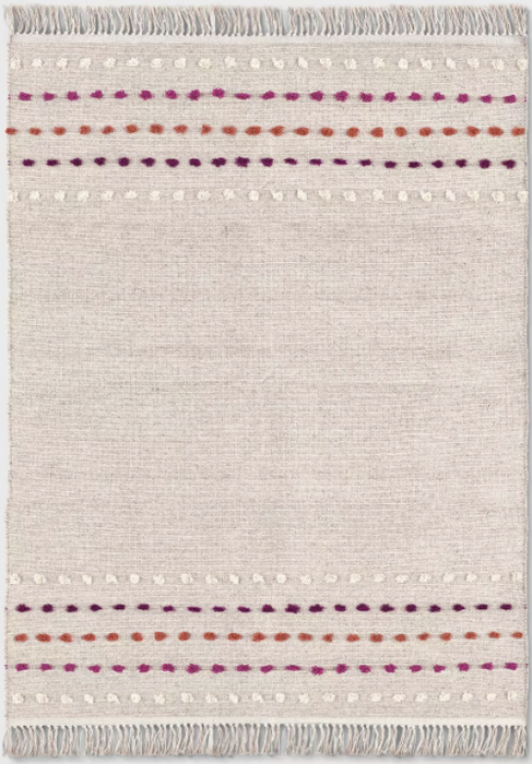 Size 7'X10' Tan Striped With Poms Woven Fringed Rug - Opalhouse™