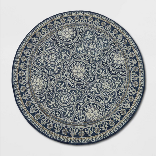 Size 8' Color Indigo Round Floral Belfast Tufted Rug - Threshold™