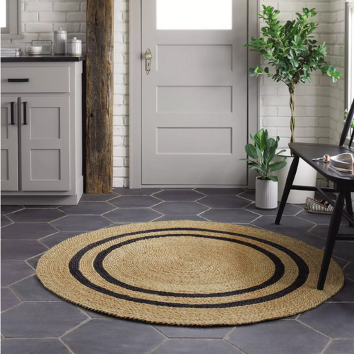 Round Color Charcoal 5' Round Jute Stripe Rug - Hearth & Hand™ with Magnolia