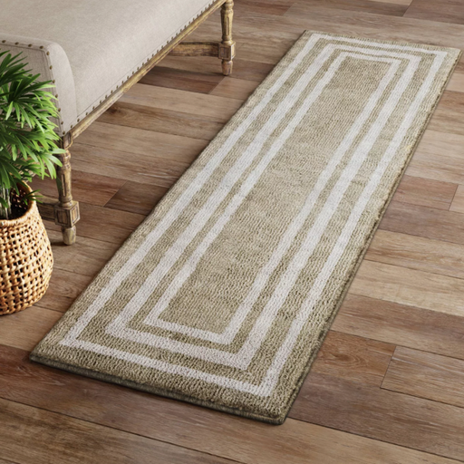Size 2'X7' RUNNER Color Tan/Ivory Tetra Border Rug - Threshold™