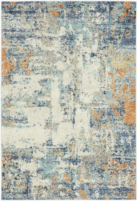 Size:9' x 12' Luxe Weavers Abstract Blue Multi Colored 9x12 Area Rug