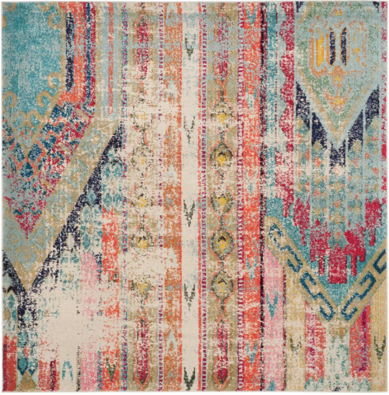 "Size 6'7""X6'7"" Color Multi Bridget Geometric Loomed Accent Rug - Safavieh"