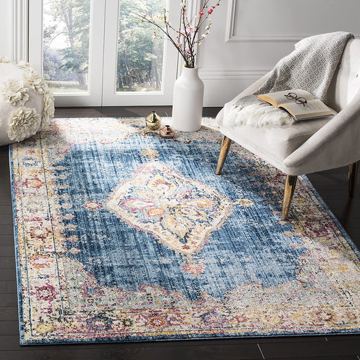 Size: 6' x 9' Color:Blue/Ivory Safavieh Blue and Ivory Vintage Distressed Medallion Area Rug (6' x 9')