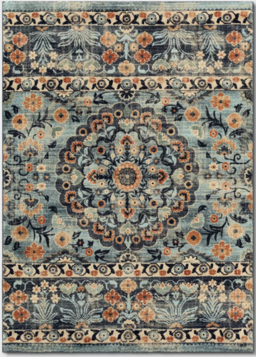 Size 5'x7' Medallion Border Plush Rug Blue - Threshold™