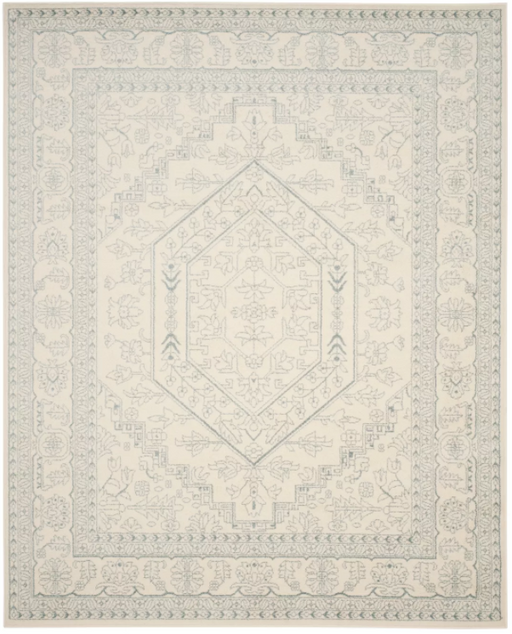 Size 8'X10' Color Ivory/Slate Medallion Loomed Area Rug - Safavieh
