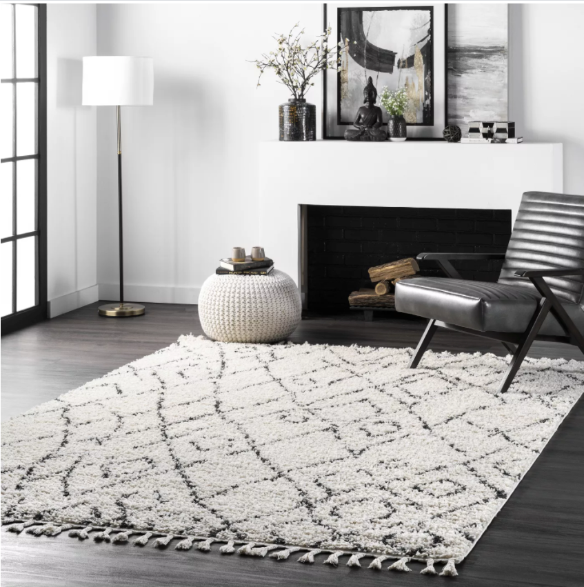 "Size 9' 2"" x 12' Color Off White nuLOOM Nieves Moroccan Diamond Tassel Area Rug"