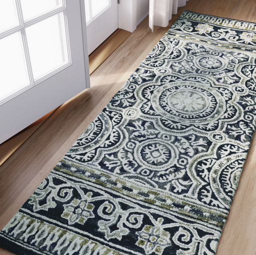 "Size 2'3""X7' RUNNER Color Indigo Floral Belfast Tufted Rug - Threshold™"