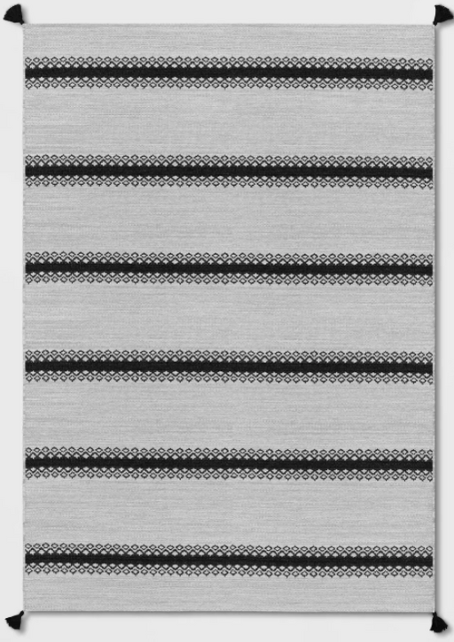 Size 7'x10' Outdoor Rug Argyle Stripe Black - Threshold™