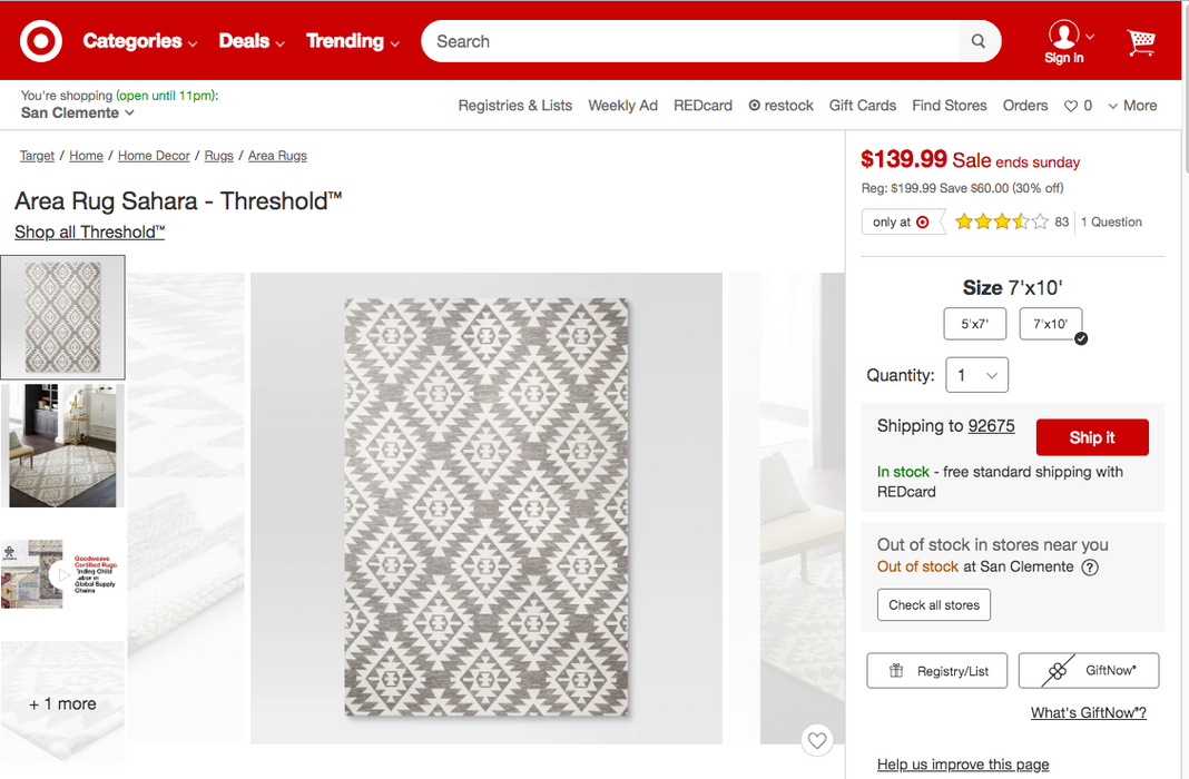 Size 7'x10' Area Rug Sahara - Our Price $95 (Currently Selling Online for $199) - YOU SAVE $105!