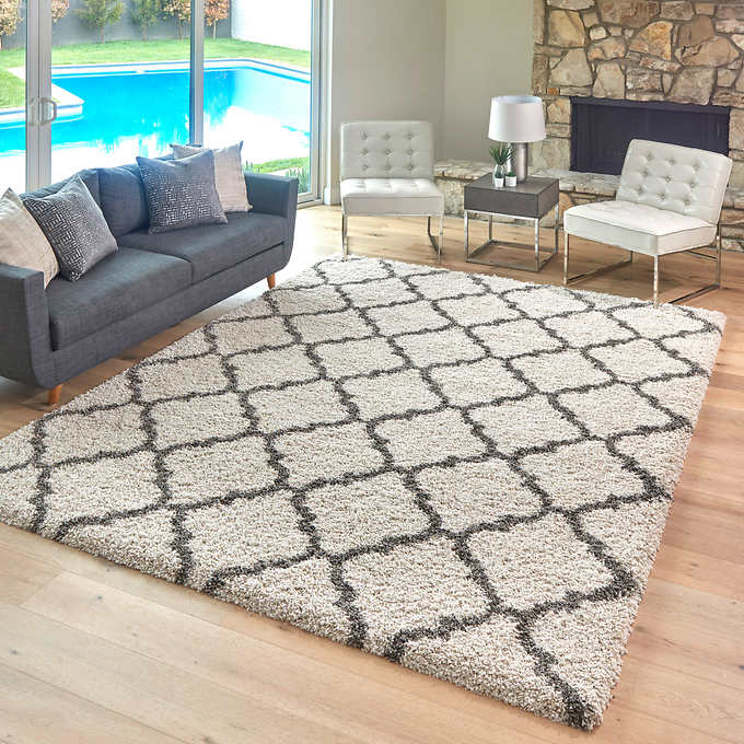 9 ft. 5in. x 13 ft. Color : Cream Thomasville Marketplace Luxury Trellis Shag Rugs
