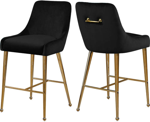 "Meridian Furniture Owen Collection Modern | Contemporary Velvet Upholstered Counter Stool with Polished Gold Metal Legs, Set of 2, 23"" W x 21"" D x 40"" H, Black"