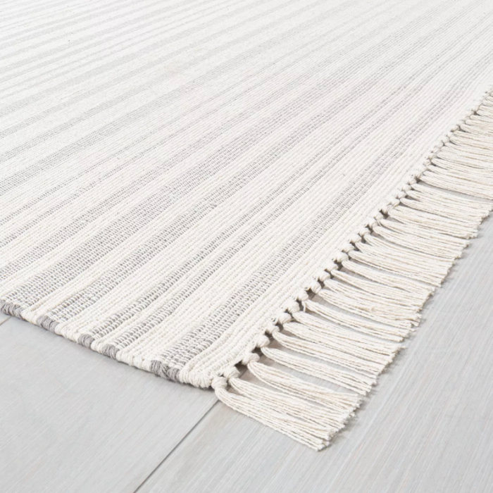 Color Gray size 9'x12' Stripe with Fringe Area Rug - Hearth & Hand™ with Magnolia