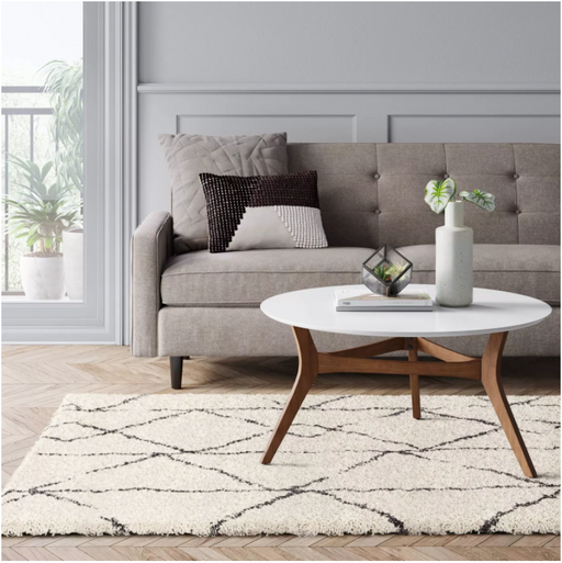 Size 5'X7' Color Cream/Gray Geometric Design Woven Rug - Project 62™