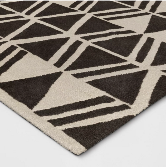 Size 5'X7 Color Charcoal/Cream Microplush Geo Knitted Area Rug - Project 62™