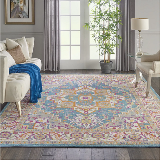 Size 8' x 10' Color Teal Multicolor Nourison Passion Bordered Center Medallion Area Rug