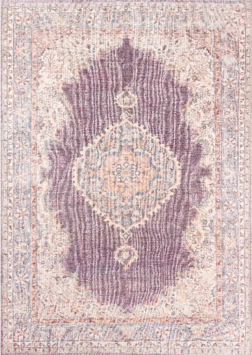 5' X 8' Momeni Helena Machine Made Polyester,Cotton and Jute Plum Area Rug