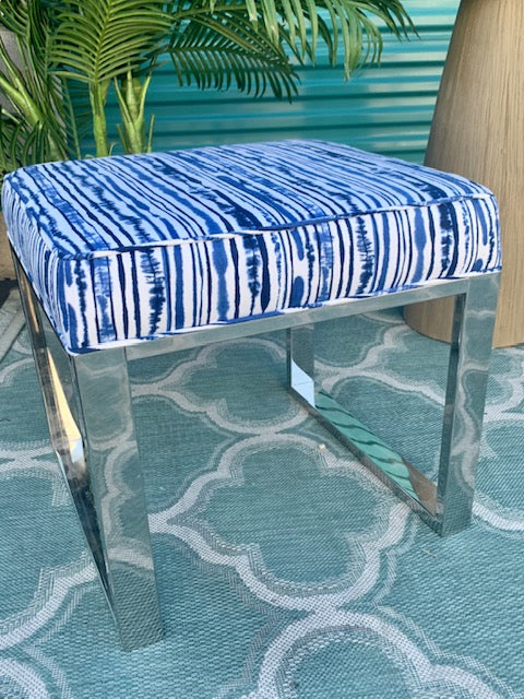 Blue and White Modern Ottoman with Chrome Base