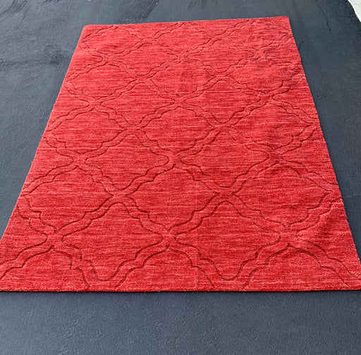 5x7 100% Wool Red Area Rug