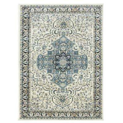 5x7 Bazaar Windsor Collection Cream And Teal Area Rug
