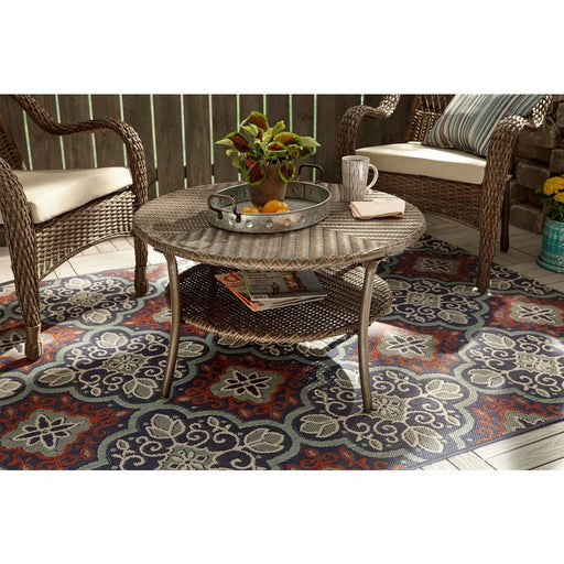 Hampton Bay Star Moroccan Beige Teal 5 ft. 3 in x 7 ft. Indoor/Outdoor Area Rug