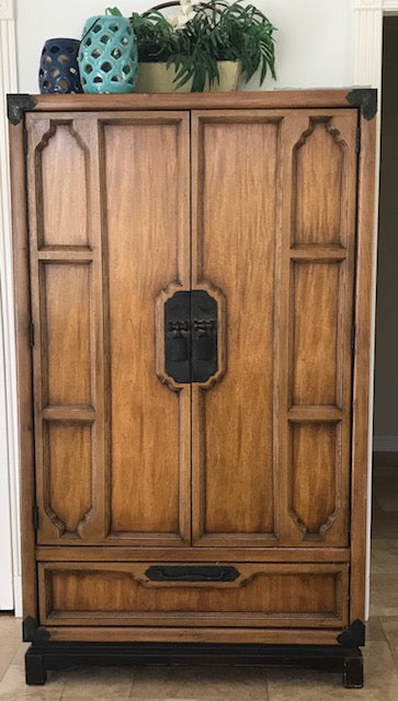 Beautiful Vintage Very Old Antique Solid Wood Armoire Approx 75 Years Old Great Condition