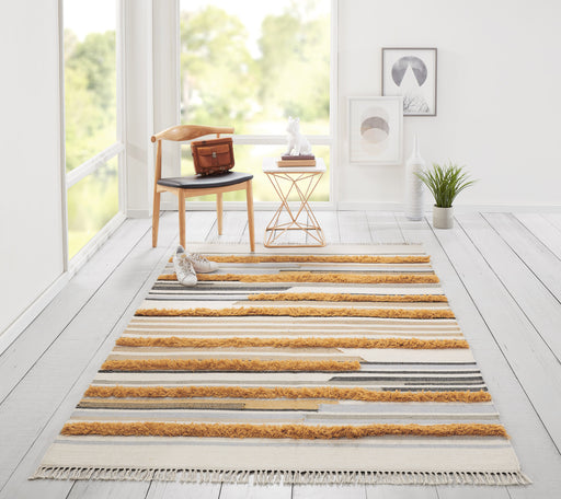 5x8 Color: Mustard Indio Feliz Wool Hand Made Mustard Area Rug Novogratz by Momeni