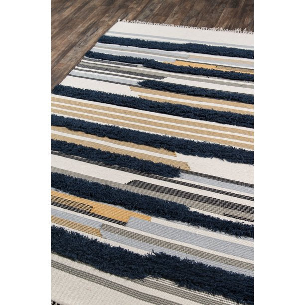 5x8 Color: Navy Novogratz by Momeni Indio Feliz Hand Woven Wool Navy Area Rug
