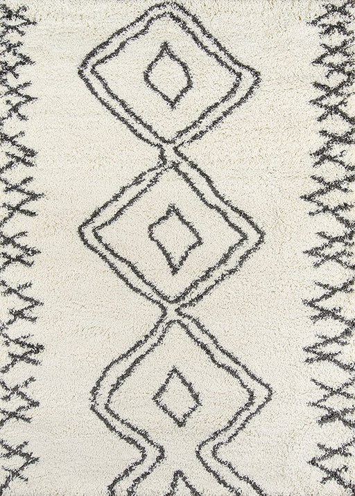 4X6 Momeni Ivory Maya Collection, Ultra Thick Pile Shag Area Rug