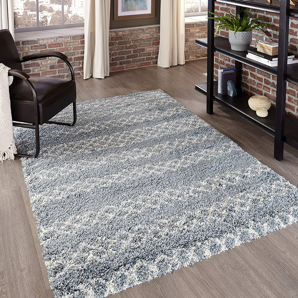 4x6 Blue Momeni Rugs Maya Collection Ultra Thick Pile Shag Area Rug