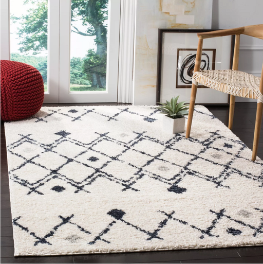Size 4' X 6' Color Cream/Navy Lomita Geometric Loomed Area Rug - Safavieh