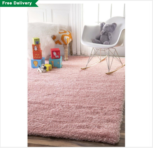"nuLOOM Rugs Airy Shag 5'3"" x 7'6"" Baby Pink Area Rug"