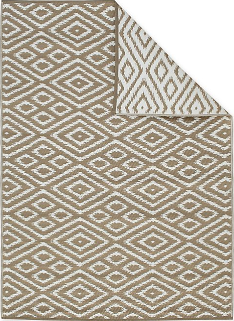 Zanzibar 6' x 9' Indoor/Outdoor Patio Mat in Brown/White