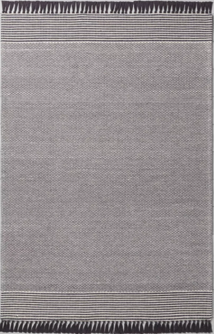 Size 7' x 10' Color Railroad Gray Textured Border Stripe Area Rug - Hearth & Hand™ with Magnolia
