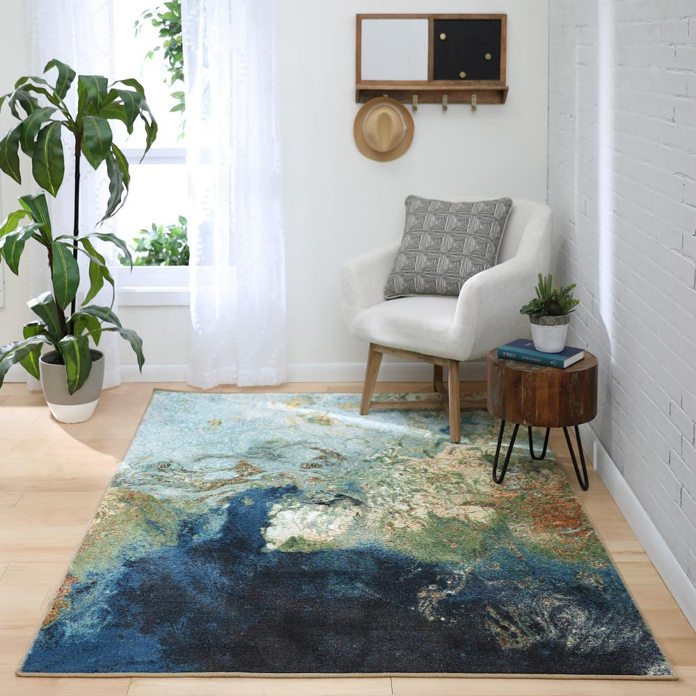 Bazaar Marbleized Blue 5ft x 7 ft. Area Rug