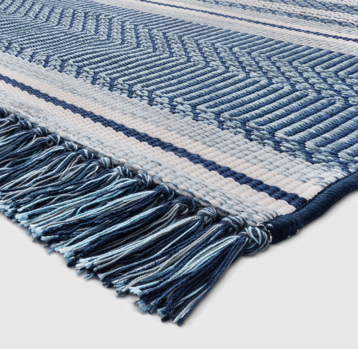 5'x7' Blue Global Stripe Outdoor Rug Our Price $45 (Currently Selling Online for $69) - YOU SAVE $25!