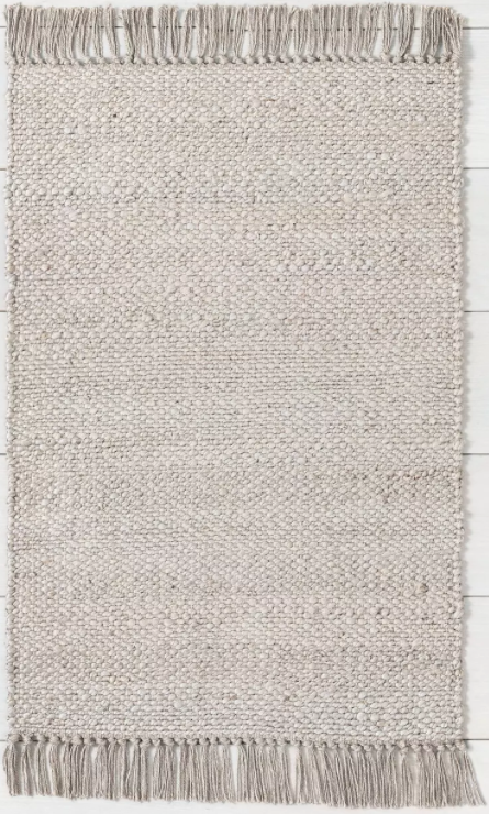 Size 2' x 3' Bleached Jute Rug with Fringe Gray - Hearth & Hand™ with Magnolia