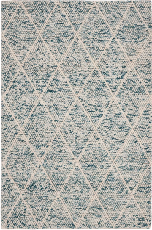 Size 4'X6' Color Ivory/Blue Milagros Diamond Accent Rug - Safavieh