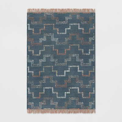7' x 10' Dash and Dot Outdoor Rug Blue - Opalhouse™