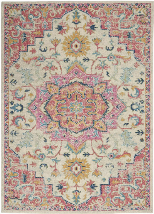 "Size 5'3""x7'3"" Color Ivory/Pink Nourison Passion Area Rug"