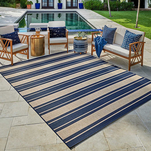 Rug Size : 6 ft. 6 in. x 9 ft. 6 in. Color : Blue/Tan Naples Indoor/Outdoor Rug Collection, Zuma Striped