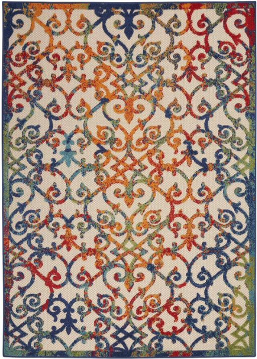 "Size 5'3"" x 7'5"" Nourison Aloha Blue/Orange Indoor/Outdoor Area Rug"